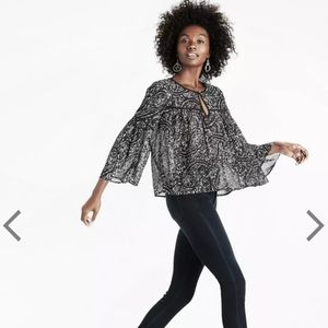 Lucky Brand | Romantic Bell Sleeve Printed Blouse